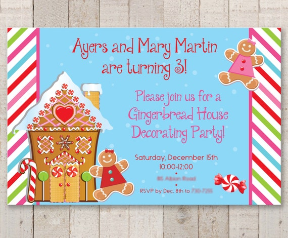 Gingerbread birthday party invitations holiday winter gingerbread birthday party invitations holiday winter birthday party decorations christmas party invitations set of 12 filmwisefo Images