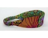 Reversible Fabric Headband - Kaffe Fassett fabrics -  Purple, Green, Grey, Tan, Black, Pink, Yellow, Blue - Women, Teens, Adults