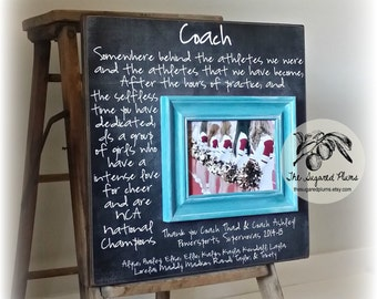 Custom Coach Picture Frame Gift, Cheer Coach Gift, Soccer, Sports, Dance Team, Gymnastics, Team Coach, Cheerleading, Thank you Gift, 16x16