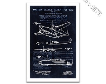 Airplane Patent by Howard Hughes - 1943 Patent Art Giclee on archival matte paper