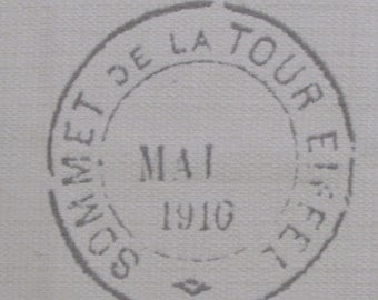 FRENCH MOTIF eiffel tower vintage stamp 26x26 pillow front /chair upholstery fabric square