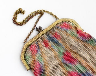 Sale - Antique Colorful Dresden Mesh Purse - Vintage German Art Deco 1920s Brass Watercolor Flapper Small Evening Hand Bag Fashion Accessory