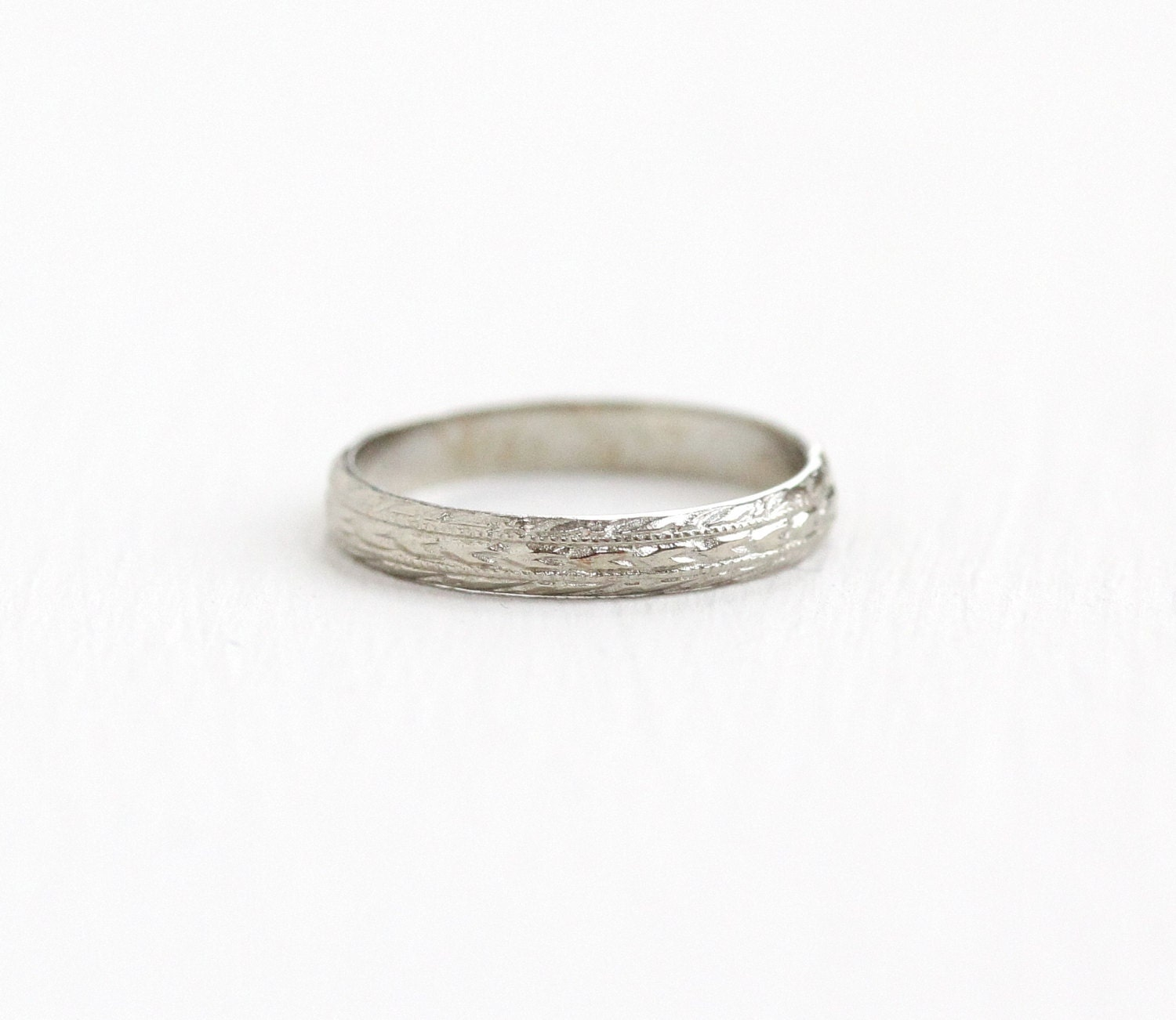 antique 14k white gold baby ring vintage 1920s by