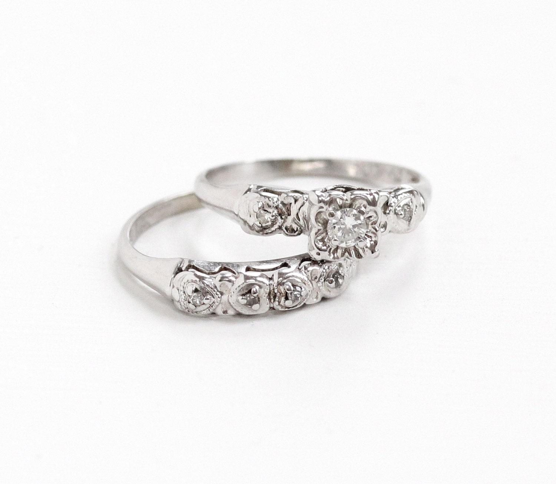 Vintage 14k White Gold Diamond Engagement Ring And Wedding