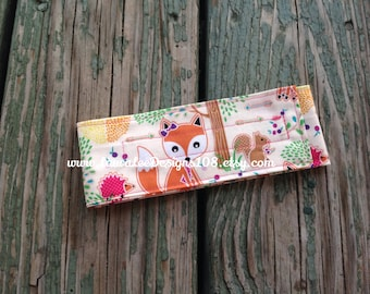 READY TO SHIP, Girly Foxes and Hedgehogs Diaper Strap, Nappy Strap