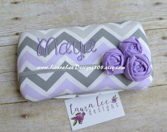 Lavender Purple and Gray Chevron with Rolled Flowers, Travel Wipe Case, Baby Wipe Case, Personalized Wipe Case, Baby Shower Gift, Wipecase