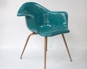 Vintage Chromcraft Fiberglass Shell Chair / Mid Century Modern / Eames Era / Turquoise Color / X Leg / 2 Available
