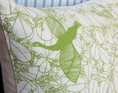 SALE Pillow / Cushion Cover in Handprinted Bird in Paradise fabric - Organic Cotton & Hemp