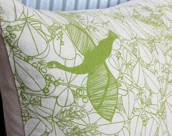 SALE Pillow / Cushion Cover in Handprinted Bird in Paradise fabric - Organic Cotton & Hemp