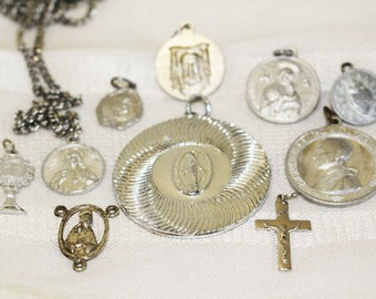 10 Religious Pendants, Necklace, Charms, Silver, Vintage   -  R