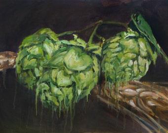 Hops & Barley, Print from Original Painting