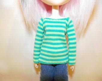 Green striped long sleeve shirt for pullip
