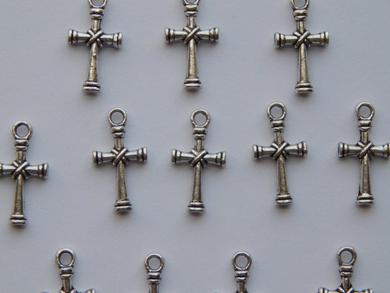 12 Pieces of Metal Jewelry Bead Pendants - 20mm Antique Silver Color Religious Cross, Wood and Rope Detail, Charms, Jesus, Christian, CR208