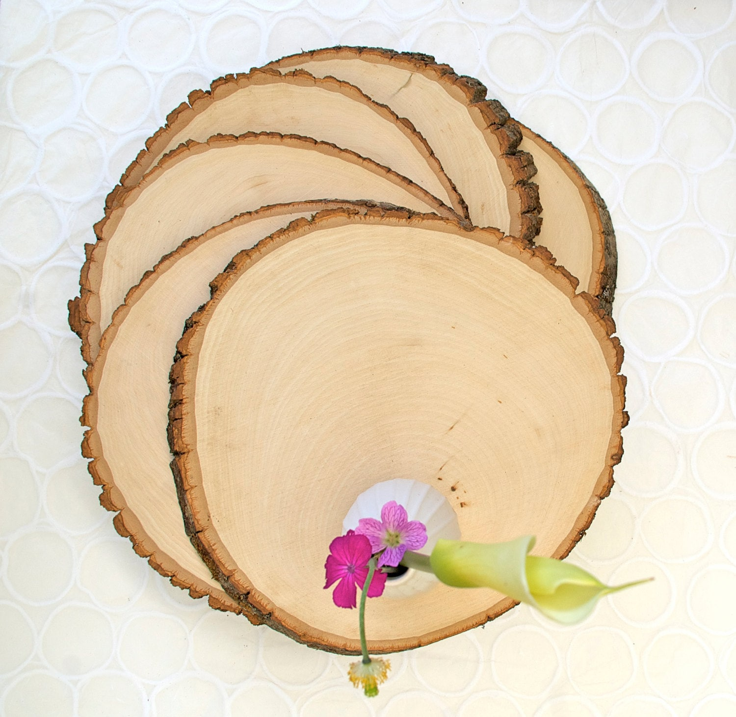 Set of large rustic wood tree slice centerpieces