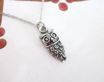 Owl Necklace Silver Boho Simple Minimalist Necklace Bridesmaid Wedding 4223
