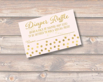 Pink and Gold Sparkle Baby Shower Diaper Raffle Tickets - INSTANT DOWNLOAD