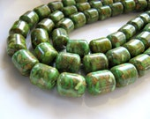 12mm Mosaic TURQUOISE Beads in Spring Green, Olive, Amber, 1 Strand 15 Inches, 31 Beads, Approx 12mm x 10mm, Barrel Drum, Assembled, GB376