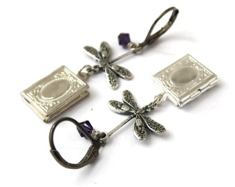 Art Nouveau Dragonfly Locket Earrings - Dragonfly's Secrets - purple swarovski crystals pretty - Ltd Ed of 2 EtsyUK