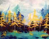 "Original Painting ""Yellow Birches"" 16x20 inches by Amanda Christine Shelton, impressionist forest painting, Woodland Art"