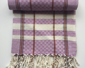 Lavender Beige Fouta towel hamam beach pool yoga spa striped soft turkish cotton checked handloomed