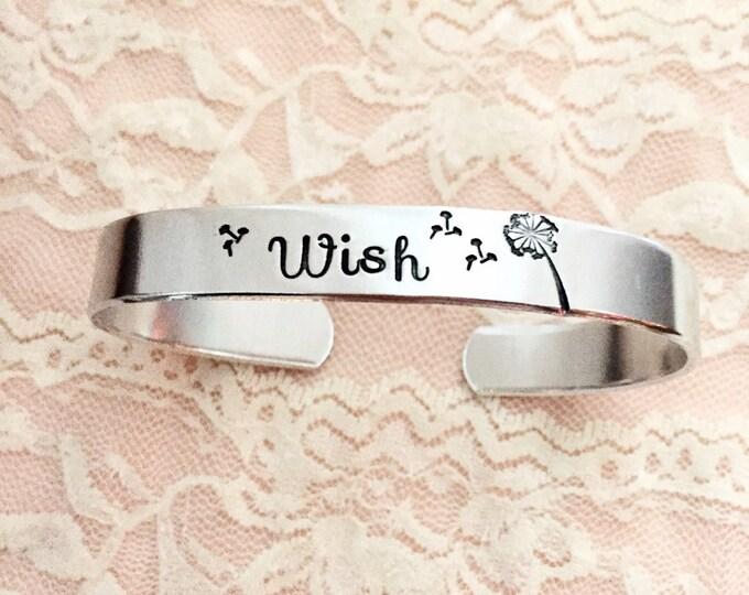 Wish: dandelion, bracelet cuff hand stamped