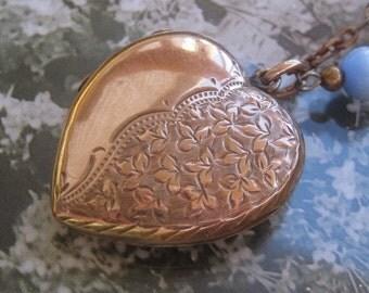 Antique Victorian RoseGold Larger HeartLocket Original Frames Blue Marbelized CatEye Brass Gold Chain