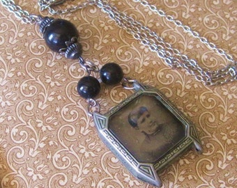 Antique Art Deco Pendant Upcycled Black Glass Beaded Portrayed Mourning Tin Type Photo Silver Metal Watchcase