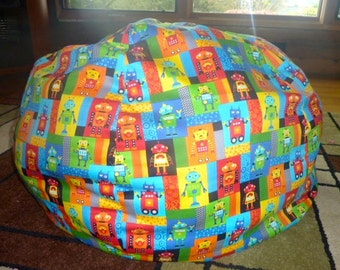 Robot Bean Bag Chair Cover, Blocks, Blue, Yellow, Green, Red, Orange, Blue, Multi Color, Shapes, Gears, Robots, Etsy Kids, Gifts Under 75