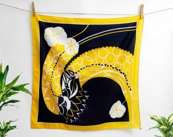 Vintage Floral Fancy Silky Scarf  - 1970 - Vintage designer Monique