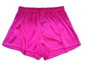 SIZE Large, La Lilouche LUX Hot Pink Silk satin with Blue Heart buttons, men Silk boxer short