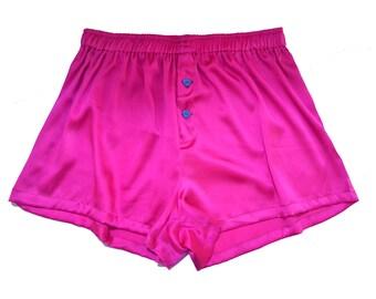 SAMPLE SALE, La Lilouche LUX Hot Pink Silk satin with Blue Heart buttons, men Silk boxer short