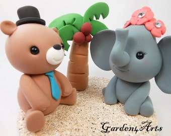 Custom Wedding Cake Topper-- love bear and elephant with clay sand base--New