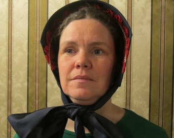 """Bonnet - Navy blue Linen with red ruching and vintage lace trim - Stiffened with buckram and wire - 47"""" long ties - Civil War"""
