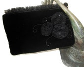 Black Velvet Evening  Bag- with Beading and Chiffon Flower Buds.
