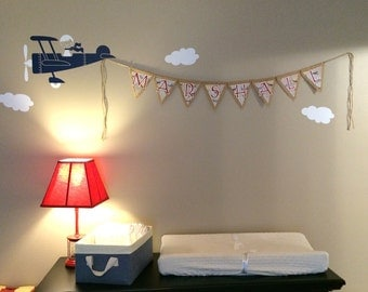 Burlap Vintage Airplane Theme CUSTOM NAME Pennant BANNER for Baby Shower