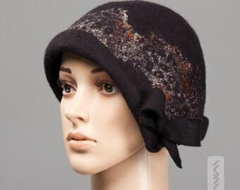 Felted Hat Cloche - Soft Wool Warm Headpiece