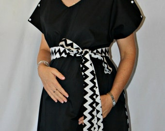 Asher II Maternity Hospital Gown - Choose Your Outside Color - Lined in Black and White Chevron with a Chevron Sash - by Mommy Moxie on Etsy