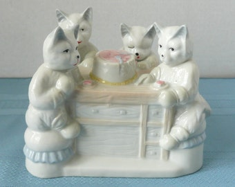 CLEARANCE - Adorable Rare Porcelain Figurine of Four Anthropomorphic Cats At A Table Eating Birthday Cake