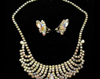 C1960 Sparkling AB Rhinestones Cascading Loops Necklace & Clip Earrings- Vintage