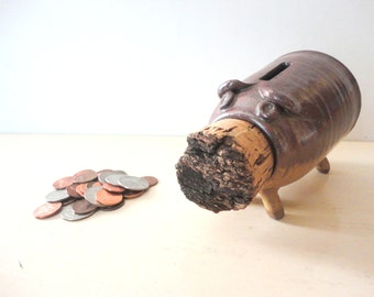 Piggy Bank Handmade Stoneware Natural Cork Nose