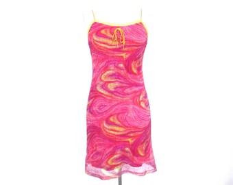 90's Club Pink Psychadelic Mesh Mini dress sise - S/M