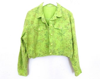 90's Floral Denim Neon Cropped Coat size - S/M