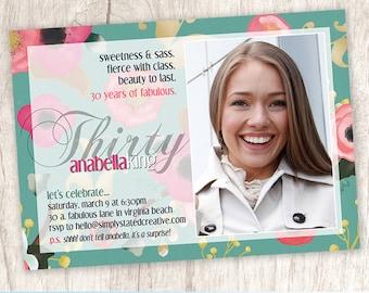 Women's Milestone Birthday Invitation, Womens Flower Photo Invitation, Woman Birthday Photo Invite - DiY Printable    Years of Fabulous 2.0