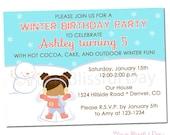 PRINTABLE Winter Birthday Snow Angel Party Invitation