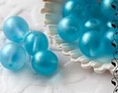 Czech Round Glass Beads 8 mm Luster Sky Blue Mat 10 pcs