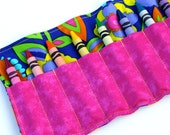 Kids Crayon Roll Up - Bright Flowers with Pink Pocket - Ribbon or Velcro Closure (YOU PICK) - Little Girl Birthday Gift - Road Trip Kid Toy