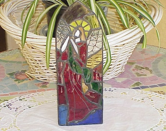 Beautiful and Colorful Vintage Stained Glass Religious Candle Holder