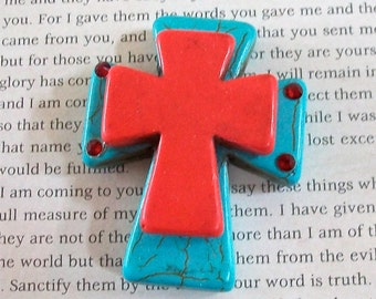 Large Stacked Turquoise Blue Stone Cross with Red Stone Cross and Bling