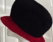 Hand Knit Wool Felted Hat City Chic Black Red Cloche Elegant Designer Hat Women's