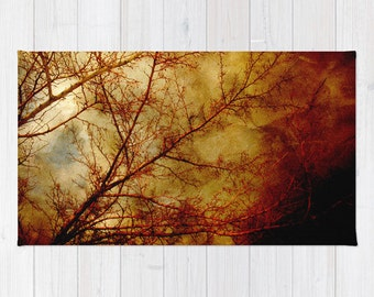 Art area Rug Gothic Red Trees fine art photography home decor